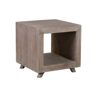 East at Main's Kybos Cube Bedside/End Table, Grey Wash - 20x20x20