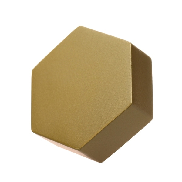 GlideRite 5-Pack 1-1/2 Inch Solid Hexagon Cabinet Knob Satin Gold. Opens flyout.