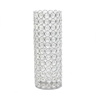 Elegant Designs Elipse Crystal  Decorative Vase, 11.25 Inch, Chrome