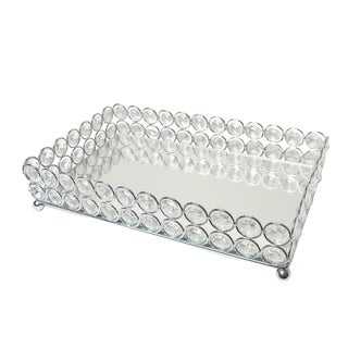 Elegant Designs Elipse Crystal Decorative Mirrored Jewelry or Makeup Vanity Organizer Tray, Chrome