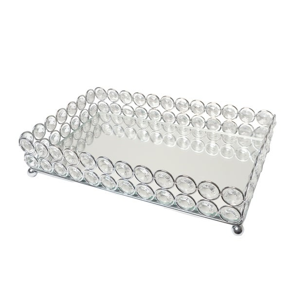 Elegant Designs Elipse Crystal Decorative Mirrored Jewelry or Makeup Vanity Organizer Tray, Chrome