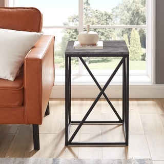 "Carbon Loft 16"" Geometric Base Side Table - 16 x 16 x 24H"