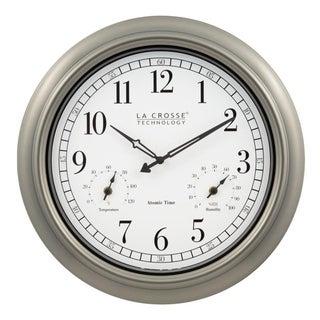 La Crosse Technology 404-1946 18-Inch Indoor/Outdoor Classic Plastic Pewter Atomic Analog Wall Clock
