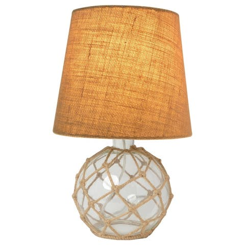 Elegant Designs Buoy Rope Nautical Netted Coastal Ocean Sea Glass Table Lamp with Fabric Shade