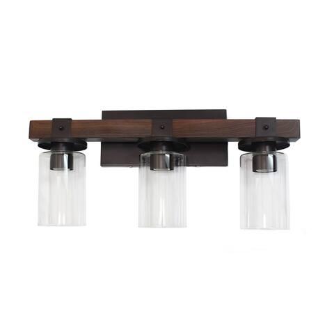 Elegant Designs Industrial Rustic Lantern Wood Look 3 Light Bath Vanity