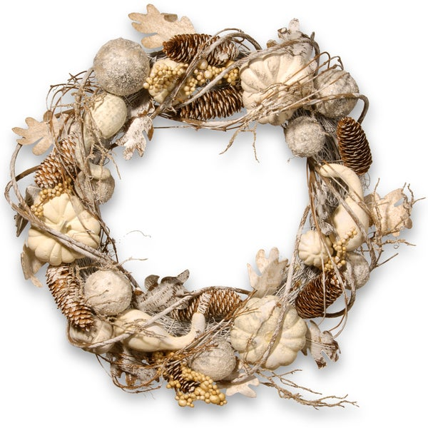 National Tree Company Rattan 20-inch Brown, Cream Pumpkin and Pinecone Wreath (As Is Item)