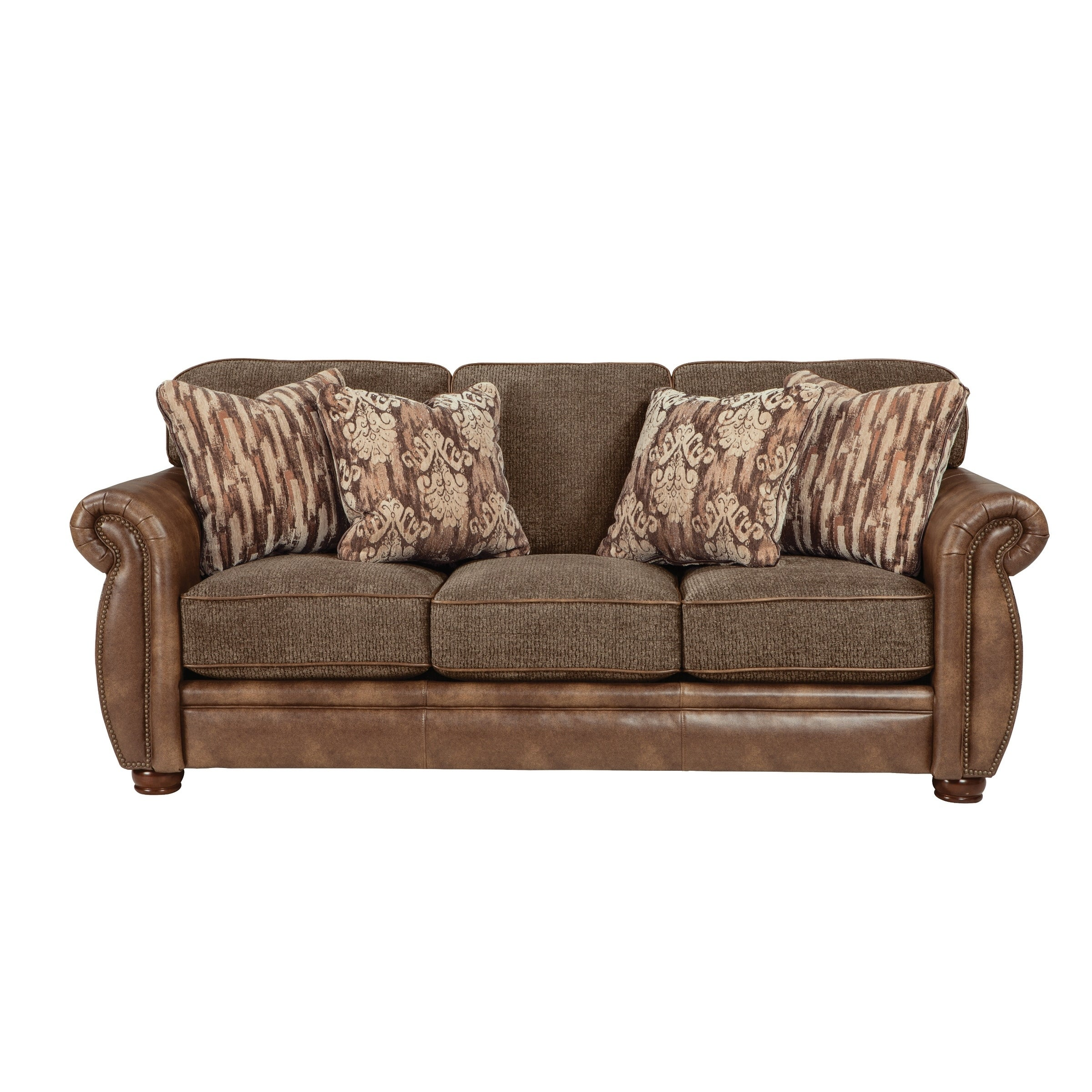 - Shop Helene Double Textured Fabric/Leather Sofa - Overstock - 29583267