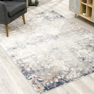 Rug Branch Havana Modern Abstract Faded Area Rug and Runner, Navy Blue