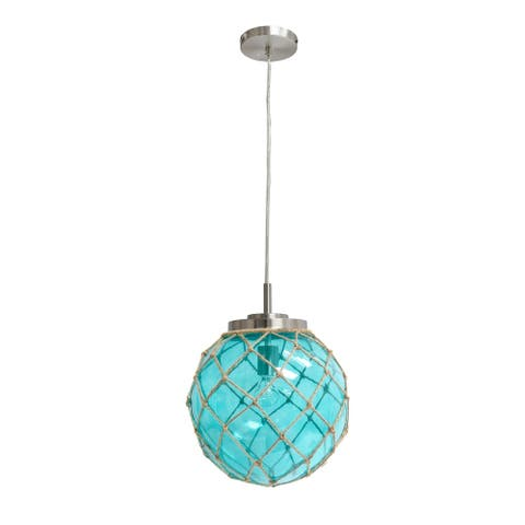 Elegant Designs Buoy Netted Brushed Nickel Coastal Ocean Sea Glass Pendant with Natural Rope