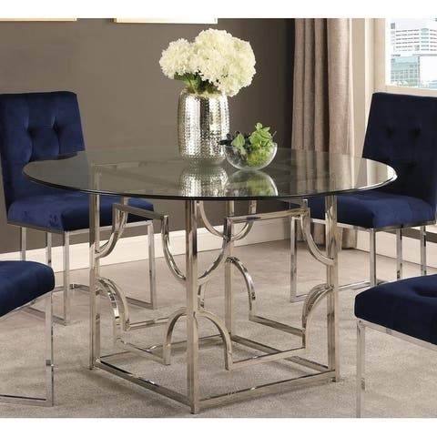 Silver Orchid Bancroft Round Glass Dining Table