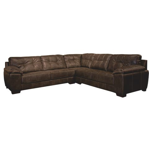 Elmer Three Piece Faux Leather Sectional Sofa