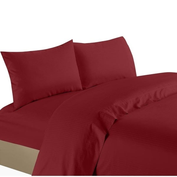Red Stripe Queen Sheet Set 4 Piece 800 Thread Count Egyptian Cotton