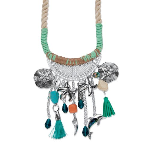 Silver Tone Beach Themed Bib Necklace (90mm), 19 inches plus 2 inch