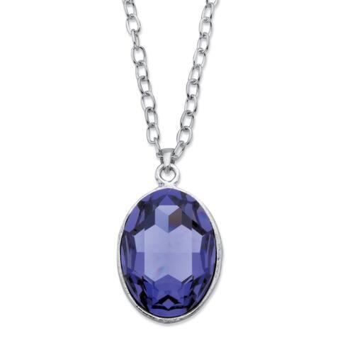 Silvertone Oval Cut Purple Swarovski Elements Crystal Pendant