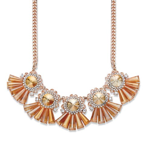 Rose Gold Plated Fringe Bib Necklace Crystals, 18 inches plus 2 inch