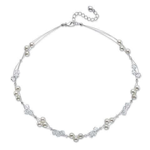 Silvertone Strand Necklace, Simulated Pearl 15 inches plus 2 inch