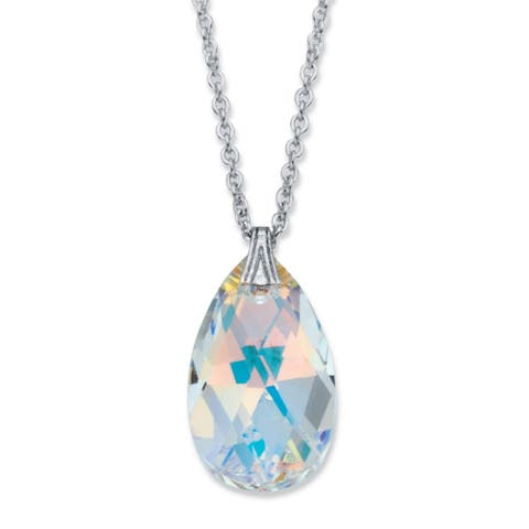 Silvertone Pendant Pear Cut Aurora Borealis Crystal with 17 inch Chain