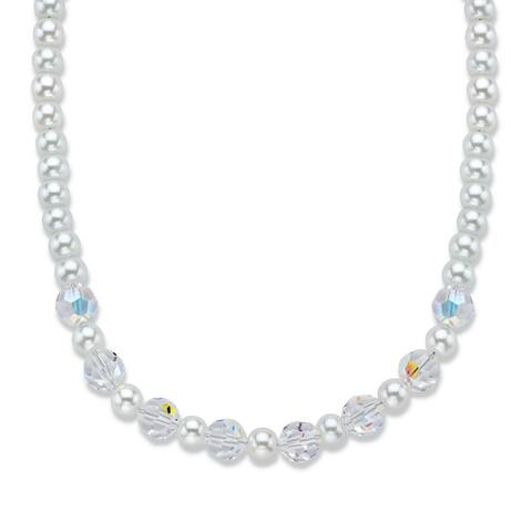 Swarovski Elements Aurora Borealis and Simulated Pearl Necklace
