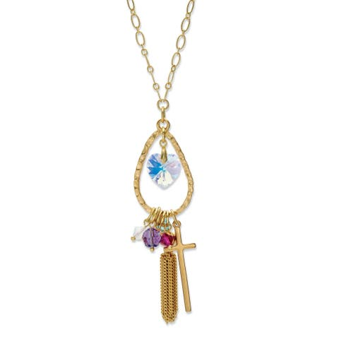 Gold Tone Heart Made with Swarovski Elements and Cross Pendant 28""