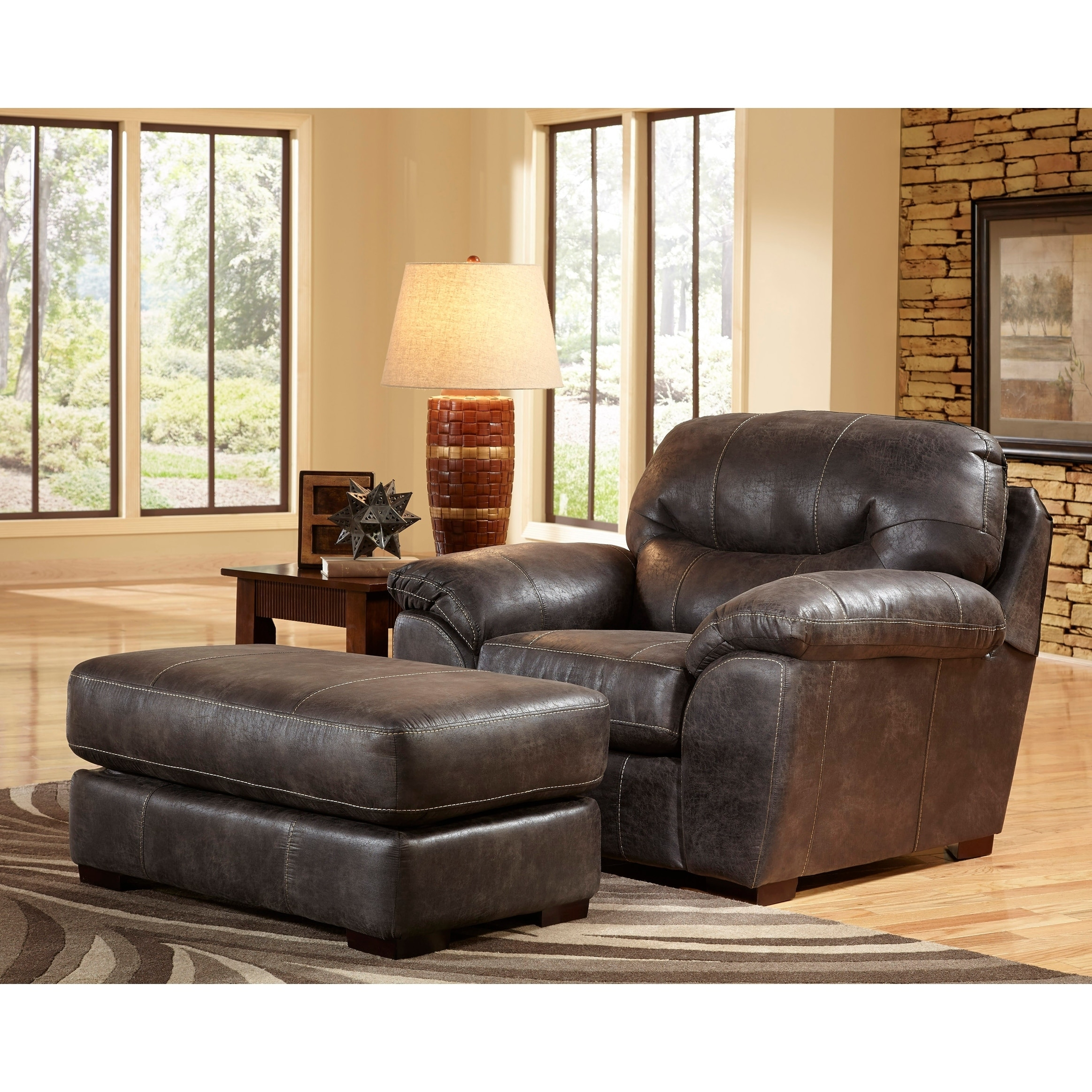 Copper Grove Monnickendam Faux Leather Chair And Ottoman Living Room Set
