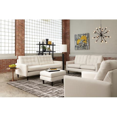 Campos Faux Leather Sofa, Loveseat and Ottoman Living Room Set