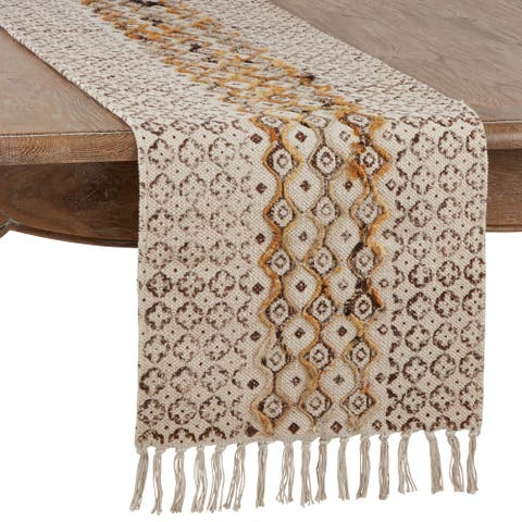 Embroidered Table Runner with Geometric Print Design