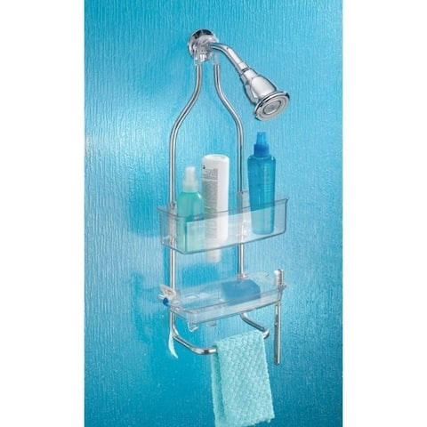 InterDesign Zia Shower Caddy 23 in. H x 9.6 in. W x 4.5 in. L Clear Plastic / Stainless steel