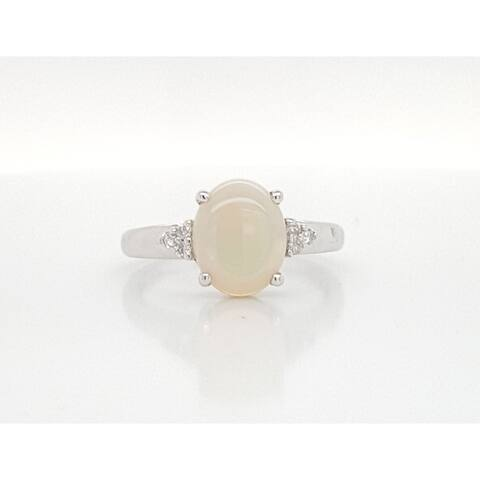 Kabella White Gold Oval Opal 6 Diamond Ring