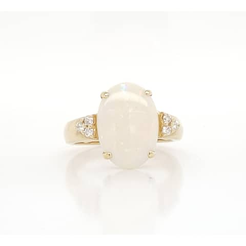 Kabella Yellow Gold Oval Opal 6 Diamond Ring