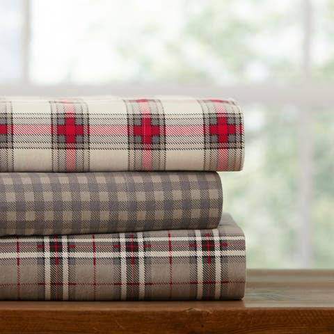 The Gray Barn Clarence Plaid Luxury Flannel Bed Sheet Set