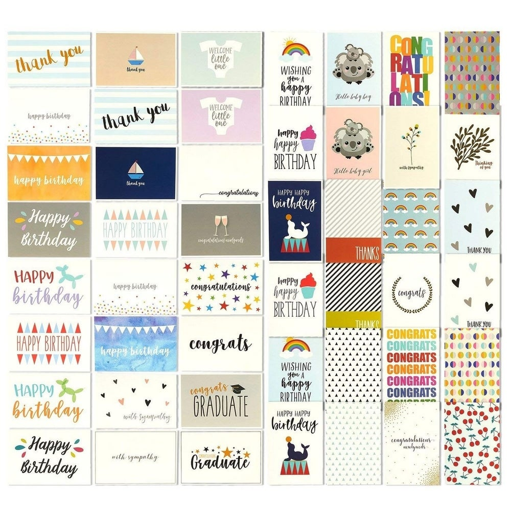 Inspiration and Blank Thank You New Baby Bulk Set of 14 Cards Including: Birthday Assorted Animals Premium Greeting Cards