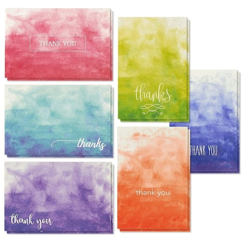 "48-Pack Thank You Cards Notes Set Blank Inside, Ombre Watercolor Designs 4""x6"""