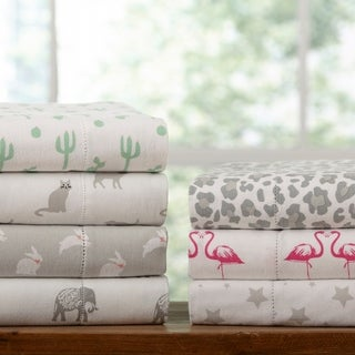 Link to Porch & Den Stallion Pattern Printed Cotton Flannel Bed Sheet Set Similar Items in Bed Sheets & Pillowcases