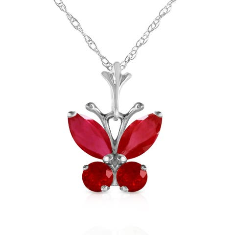 0.6 Carat 14K White Gold Butterfly Necklace Natural Ruby