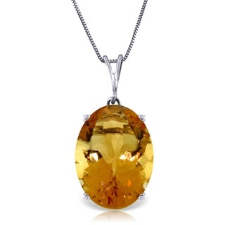 6 Carat 14K White Gold Necklace Oval Citrine