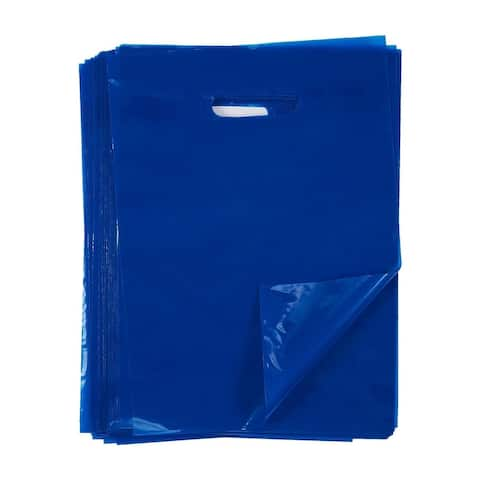 100-Piece Blue Plastic Merchandise Bags Party Favor Bags for Birthday Retail
