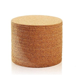 Link to Set of 24 Cork Bar Drink Coasters - Absorbent and Reusable - Tan - 4-Inches Similar Items in Glasses & Barware