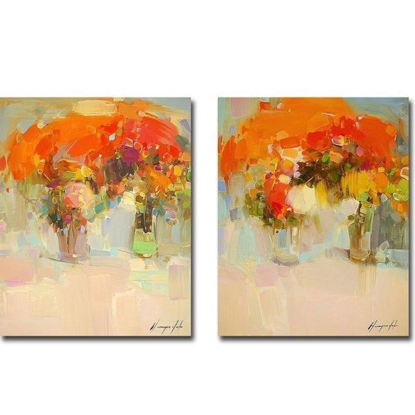 Vase of Yellow Flowers 1 & 2 by Vahe Yeremyan 2-pc Gallery Wrapped Canvas Giclee Art Set (20 in x 16 in Each Canvas in Set)