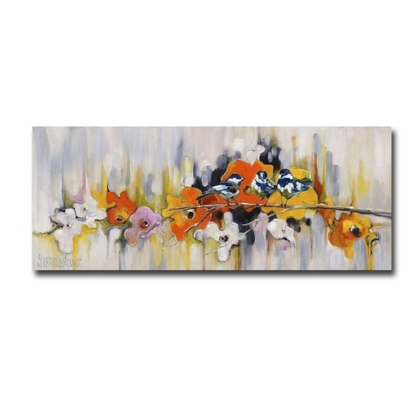 Trio with Poppies by Stephanie Aguilar Gallery Wrapped Canvas Giclee Art (15 in x 45 in)