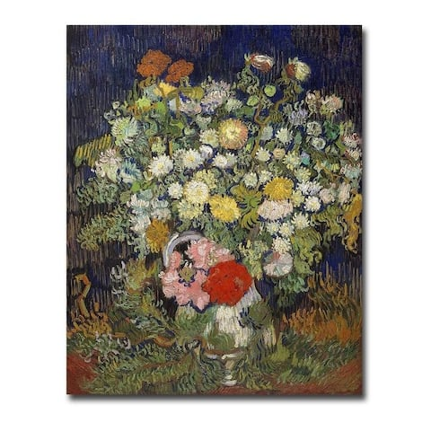 Bouquet of Flowers in a Vase, 1890 by Vincent Van Gogh Gallery Wrapped Canvas Giclee Art (30 in x 24 in)
