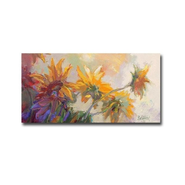Three Long Blossoms by Beth A. Forst Gallery Wrapped Canvas Giclee Art (18 in x 36 in)