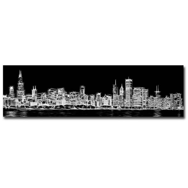 Chicago Skyline Fractal by Adam Romanowicz Gallery Wrapped Canvas Giclee Art (12 in x 42 in)