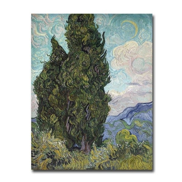 Cypresses, 1889 by Vincent Van Gogh Gallery Wrapped Canvas Giclee Art (18 in x 14 in)