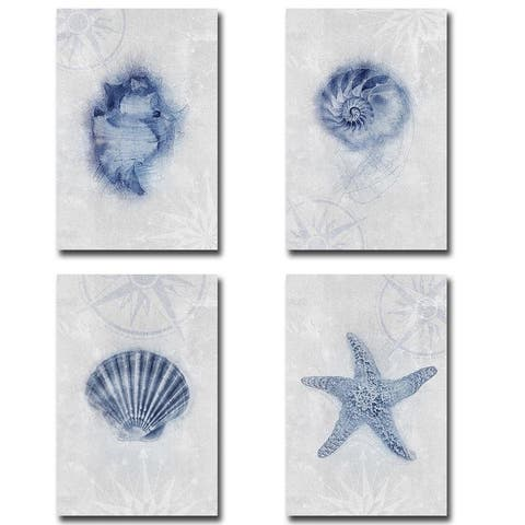 Ocean Memories 1, 2, 3, & 4 by Louis Duncan-He 4-pc Gallery Wrapped Canvas Giclee Art Set (18 in x 12 in Each Canvas in Set)