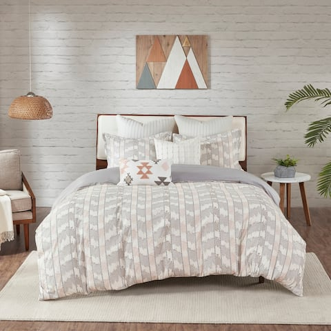 The Curated Nomad Natalis Grey/Blush Cotton Jacquard Comforter Set