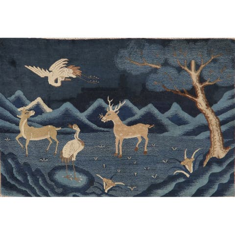 Hand Knotted Novelty Antique Casucal Vegetable Dye Peking Area Rug - 3' 11'' X 5' 11''