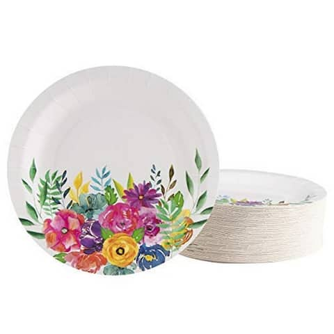 80-Pack Disposable Round Floral Paper Plates for Tea Party, Weddings, 9-Inch