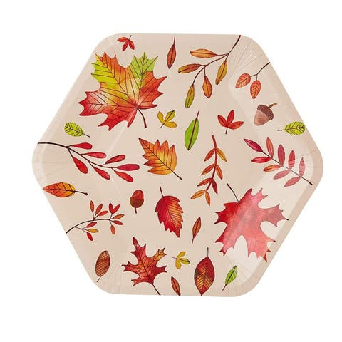 50-Count Disposable Paper Plates, Autumn Leaves Hexagon Design, 9 x 8 Inches