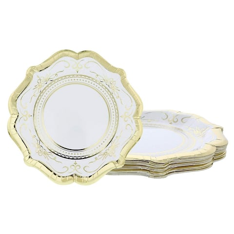 24-Count Disposable Paper Plates, Gold Foil Scalloped Edge Design, 9.2 Inches