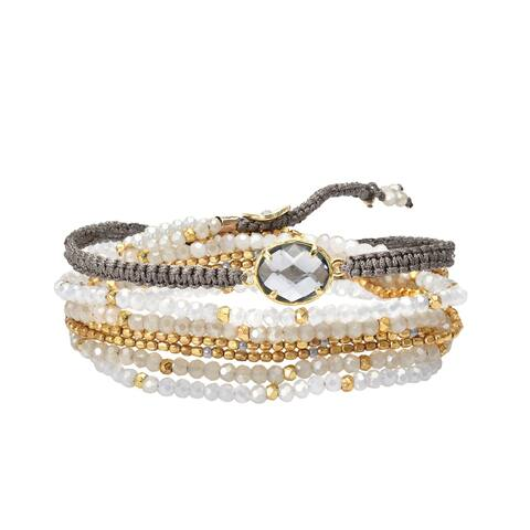 Handmade Stylish Oval Shaped Faceted Crystal with Metallic Beads Wrap Bracelet (Thailand)